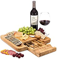 Premium Bamboo Cheese Board with Knife Set - Large Charcuterie Platter - Housewarming Gift - Custom Slide Out