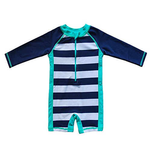 Baby Infant Swimsuit Bathing Suit - Baby Beach One-Piece Swimsuit UPF 50+ -Sun Protective Sunsuit Blue,18 Months
