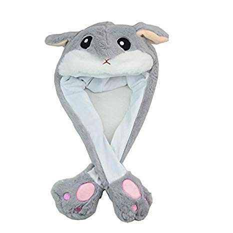 Tik Tok Movable/Jumping Rabbit Ear Hat[Rabbit Plushy][Costume Hat][Easter Hat][Halloween Hat][Easter Bunny] (Hamster)]()