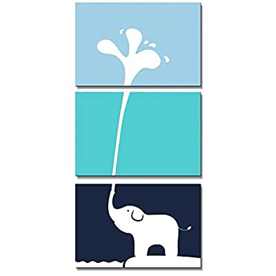 3 Panel Cute Baby Elephant Blowing Water Out of his Trunk x3 Panels, Premium Creation, Fascinating Portrait