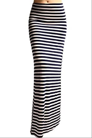 Azules Women's Rayon Span Striped Banded Maxi Skirt (X-large, A97 Navy-White)