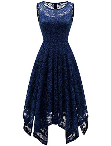 - Gardenwed Floral Lace Wedding Guest Bridesmaid Dress Handkerchief Hem Cocktail Dress Formal Dresses for Women Navy XL