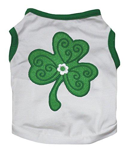 (Petitebella St Patrick Pet Supply Clover Green White T-Shirt Novelty Dog Dress (Medium))