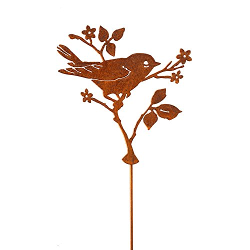 Elegant Garden Design Upright Warbler with Flower Stake, Steel Silhouette with a Rusty Patina
