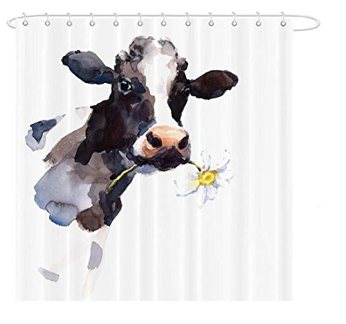 MAEZAP Cow Farmhouse Shower Curtain Animal Painting Art Bathroom Decor Waterproof Polyester with Hooks 69x70 Inchs