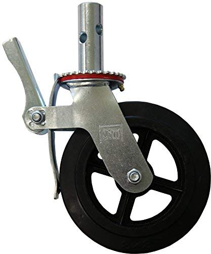"RWM Casters Locking Stem Scaffold Caster, Swivel with Lock, Rubber on Iron Wheel, Roller Bearing, 500 lbs Capacity, 8"" Wheel Dia, 2"" Wheel Width, 9-1/4"" Mount Height, 1-3/8"" Stem Dia, 3-3/4"" Stem Height"