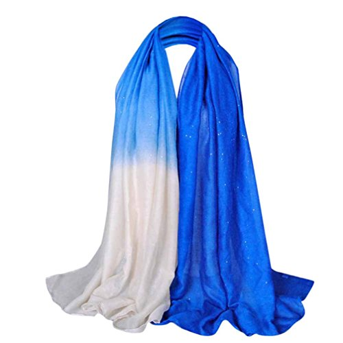 Yang-Yi Fashion Spring Glitter Women Long Voile Scarf Soft Gradient Style Pashmina Wrap Shawl Stole (L, 18090CM)