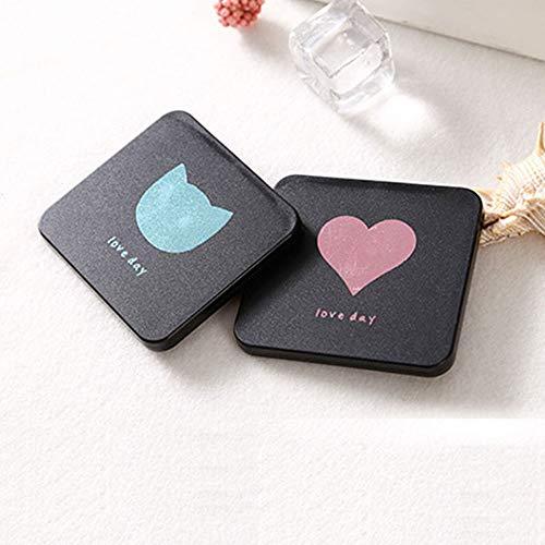 BONTOUJOUR Elegant Mini Mirror, Creative Gilt Cat Heart Pattern Makeup Mirror Pocket Purse Hand Square Compact Mirror- Silver -