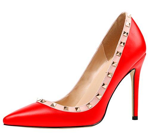 Pu Übergröße Nieten Rot AOOAR mit Heels Damen High Pumps OwTxB8