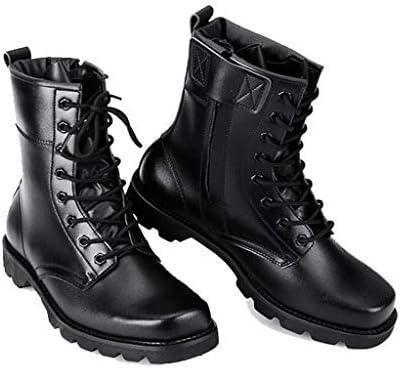 メンズブーツ秋と冬の摩耗暴動防止ブーツハイトップベルトチューブ内の快適な戦術ブーツアウトドアウォームブーツメンズブラックレザーブーツ (Color : Black, Size : 44)