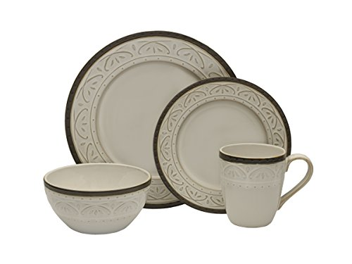 Pfaltzgraff 5217018 Promenade Scrool 16-Piece Dinnerware Set, Service for 4 by Pfaltzgraff