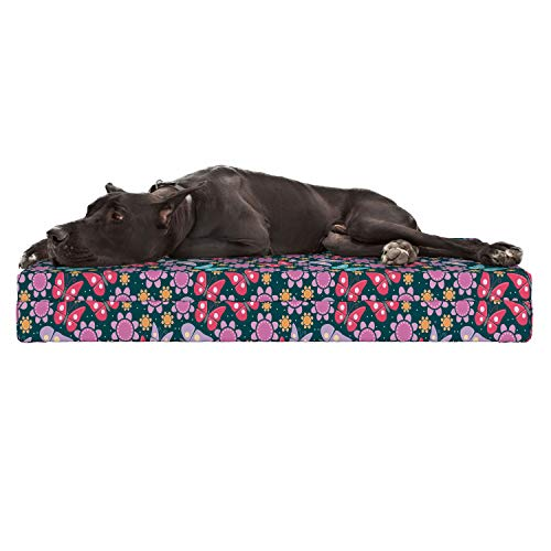 Lunarable Nursery Dog Bed, Happy Illustration with Flowers and Butterflies Colorful Spring Breeze Cartoon, Durable Washable Mat with Decorative Fabric Cover, 48