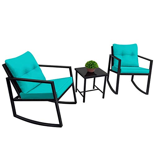 Devoko 3 Piece Rocking Bistro Set Wicker Patio Outdoor Furniture Porch Chairs Conversation Sets with Glass Coffee Table (Blue)