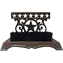 "Cast Iron Western Star Boot Scraper and Brush - 8.5"" x 6"""