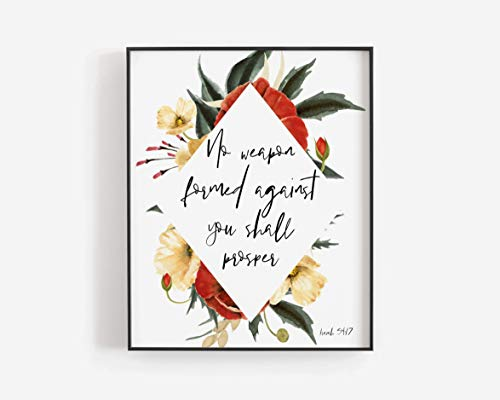 Pulling No Weapon Formed no Weapon Formed Against You Shall Prosper Isaiah 5417 Christian Printable Scripture Print Watercolour Calligraphy (No Weapon Formed Against Us Shall Prosper)