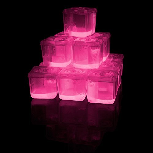 Fun Central O992, 24 Pcs, 1 Inch, Pink Glowing Ice Cubes, Valentines Light Up Ice Cubes for Drinks, Glow in The Dark Ice Cubes, Flashing Drink Lights, Lited Ice -