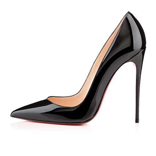 Mermaid Women's Shoes Pointed Toe Stiletto High Heel Pumps-Black-5