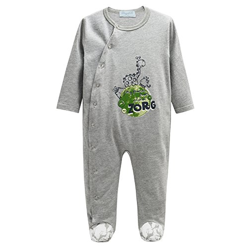 Yayabb Baby Boy Cotton Organic Coverall Long-Sleeve Rompers Newborn Baby Boys Clothes (4-6 Months, Gray 2) (Gray Long Sleeve Coverall)