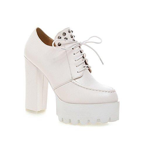Balamasa Girls Studded Rivet Tacones Gruesos Vendaje Material Suave Bombas-zapatos Blanco