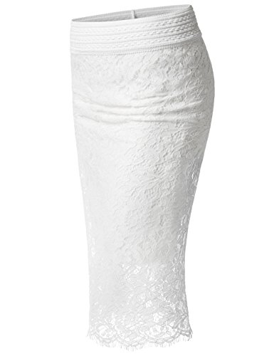 NEARKIN (NKNKWLSK63) Womens Waistband Scallop Floral Laced Midi Pencil Skirt WHITE US L(Tag size (Waistband Pencil Skirt)