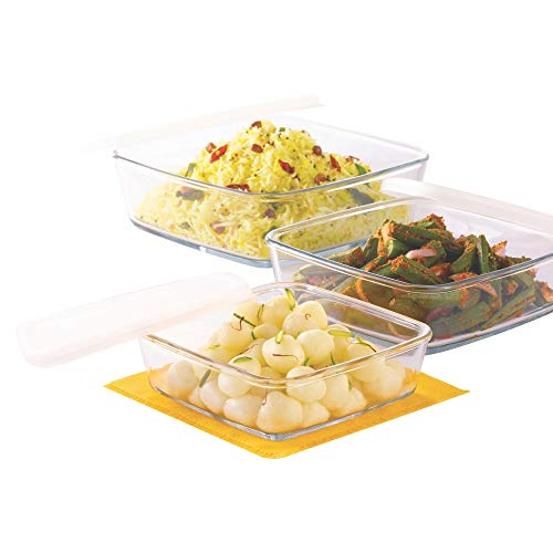 Borosil Square Dish with Lid and Storage Set, 3-Pieces Price & Reviews
