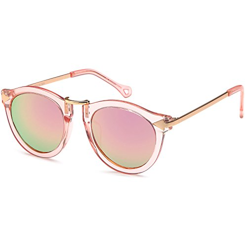 CATWALK UV400 Womens Round Cat Eye Sunglasses with Arrow Design Metal Fashion Frame and Flash Lens Option – Mirror Pink Lens on Pink Gold - Cat Eye For Round Eyes
