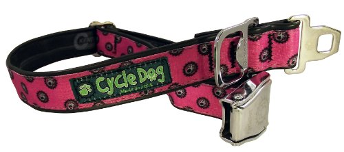 (Cycle Dog Bottle Opener Recycled Dog Collar with Seatbelt Metal Buckle, Pink Icon, Medium)