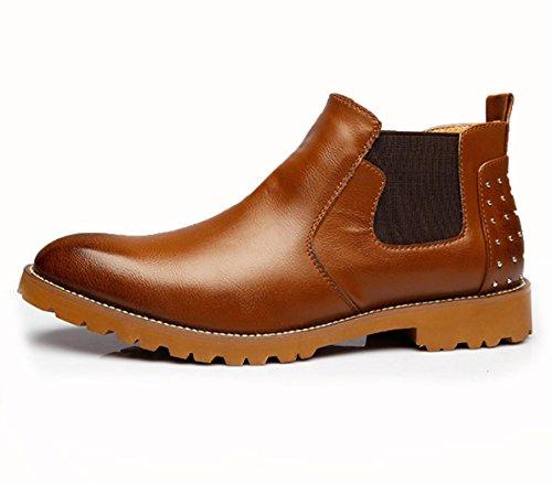 WZG los hombres de cuero tallado nuevos trajes botas botas botas de los hombres de negocios del alto-top zapatos light brown
