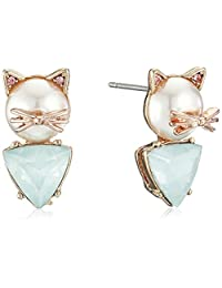Betsey Johnson Womens Pearl Critters Cat Stud Earrings