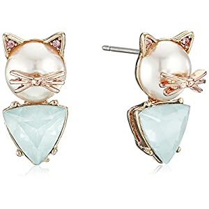 Betsey Johnson Women's Pearl Critters Cat Stud Earrings