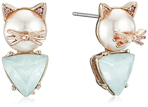 Betsey Johnson''Pearl Critters'' Cat Stud Earrings by Betsey Johnson (Image #1)