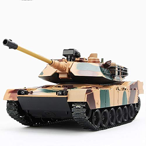 Kikioo Remote Control Tank RC US M1A2 Scale 1:18 Airsoft Effects Smoke Military Figure High Speeds Radio Control Tank Model Car 360° Flip Stunt Car Toy With Flashing Lights & Lifelike Sound ()