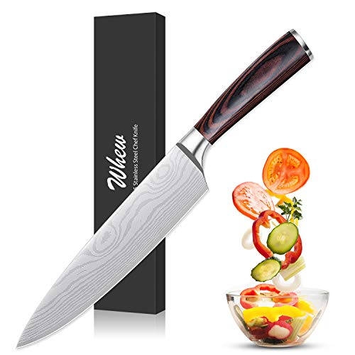 Whew Chef Knife, 8 Inch Japanese High Carbon Stainless Steel Pro Kitchen Knife with Ergonomic Handle, Razor Sharp,Stain and Corrosion Resistant,Best Choice for Home Kitchen and Restaurant ()