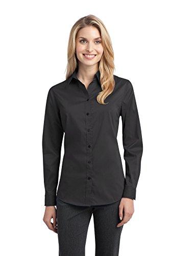 Autoridad Portuaria de la mujer Stretch Popelina camisa grey smoke