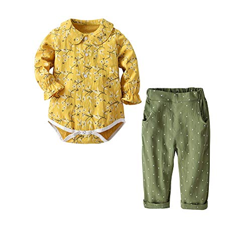 Baby Girls Pants Set Newborn Infant Long Sleeve Romper Toddler 2Pcs Girl Clothes Set Outfit (Yellow, 6-9M/70) ()
