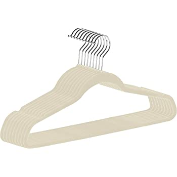 Zoyer Premium Quality Velvet Hangers (50 Pack) Space Saving and Heavy Duty Non-Slip Clothes Hangers - 360 Degree Rotatable Chrome Swivel Hook - Strong and Durable Suit Hangers, Ivory