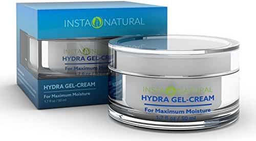 InstaNatural Hyaluronic Acid Cream for Face - Hydrating Facial Moisturizer - Hydra Gel Cream Formula for Flaking, Dry & Aging Skin - For a Boost of Hydration for Soft & Supple Skin - 1.7 OZ
