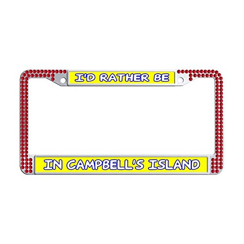 (Hensonata Red Shining License Plate Frame I'd Rather Be in Campbell's Island Personalized Glitter Rhinestones Diamond Crystal Stainless Steel License Frames Plate with Mounting Screws(1 Pcs))