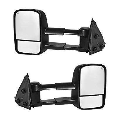DEDC Towing Mirrors Fit For 1999-2002 Chevy Silverado 1500 2500 3500 GMC Sierra Yukon Power Heated Manual Telescoping