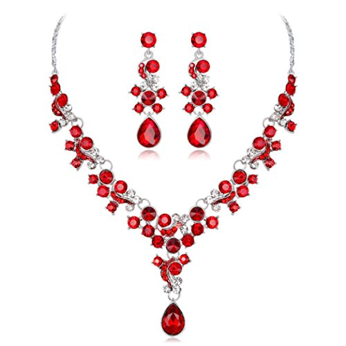 - Women's Jewelry Sets, Hmlai HML-01 Glamorous Alloy Rhinestone Pearl Bridal V-Necklace Earrings Pendants Set Wedding Jewelry Gift (Red)
