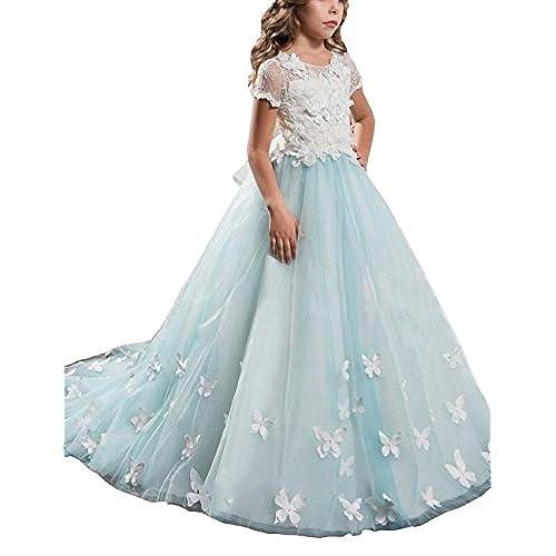 Mulanbridal Lace Flower Girl Dress Butterfly Kids First Communion Gown Princess Wedding Royal Train Child-13