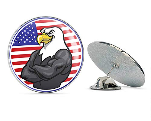 BRK Studio Cool Smiling American Flag and Bald Eagle Cartoon Icon Round Metal 0.75