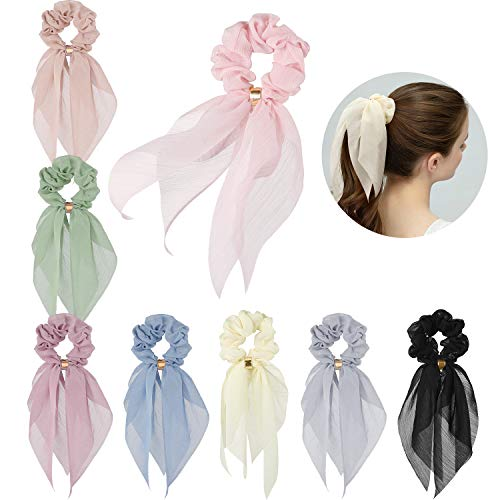 - Hair Scarfs for Women Girls, Funtopia 8 Pcs Double Layer Bow Scrunchies for Hair Bunny Ear Scrunchies with Assorted Colors, Elegant Scarf Hair Ties Bowknot Ponytail Holder for Party Travel Daily