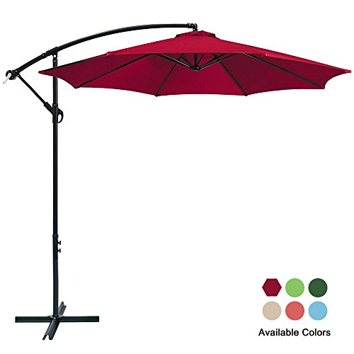 Easy Crank - Garden Bean 10ft Patio Cantilever Aluminum Umbrella with Crank Outdoor Offset Easy Open Lift 360 Degree Rotation