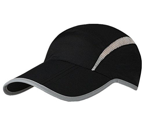 GADIEMENSS Reflective Foldable Running Cap Quick Drying Outdoor Sports UPF40+ Black
