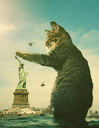 """Notebook: Fantasy Cat Statue of Liberty New York United States 8.5"""" x 11"""" 150 Ruled Pages by Wild Pages Press"""
