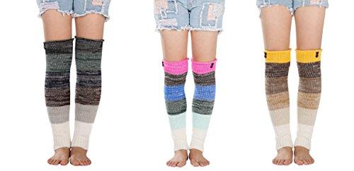 Knit Striped Leg Warmers - 3