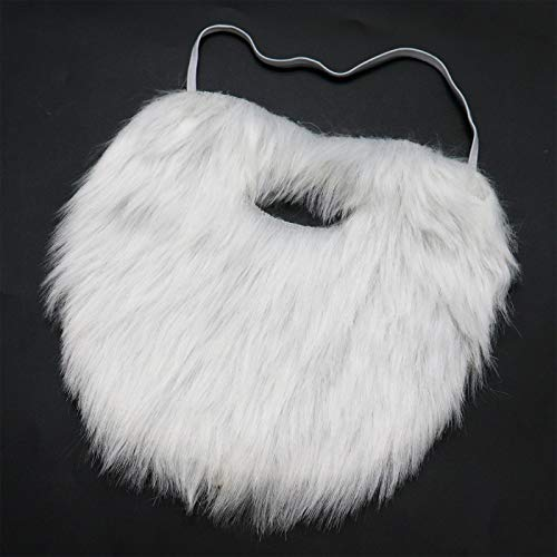 AQUEENLY White Beard Costume Soft Fake Beards for Kids Adults Disguise Santa Claus]()