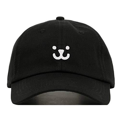 (Kawaii Dog Face Baseball Hat, Embroidered Dad Cap, Unstructured Soft Cotton, Adjustable Strap Back (Multiple Colors) (Black))