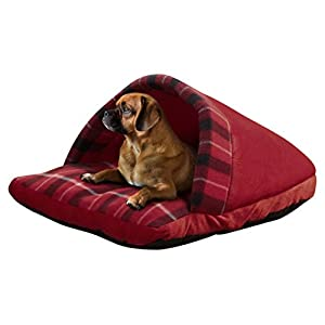 Beatrice Home Fashions SLPPTB21RED Plaid Slipper Pet bed, Red